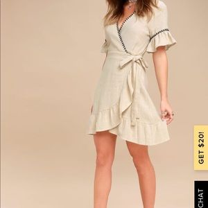 NWT! CYRUS BEIGE EMBROIDERED WRAP DRESS